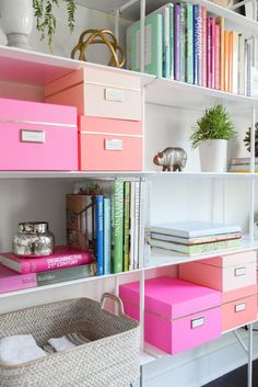 Not my photo or boxes - but this is my #1 tip for clutter bugs like myself! Pretty labeled boxes! Hides/organizes clutter and makes stuff easier to find!