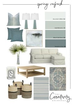 Easy Spring Refresh Ideas: Moody Monday - Spring home refresh tips and sources. Informations About Easy Spring Re - Coastal Living Rooms, Home Living Room, Living Room Designs, Living Room Decor, Bedroom Decor, Coastal Bedrooms, Living Room Colors, Bedroom Ideas, Room Color Schemes