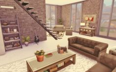 Loft The Sims 4 - Download Sims 3, Sims Freeplay Houses, Sims 4 Houses, Sims 4 Cc Furniture, Furniture Decor, Studio Apartment Layout, Apartment Design, Sims 4 House Building, Sims 4 Gameplay