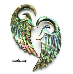 Angel Wings Mocha Acrylic Earplugs Size 00G