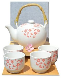 Gift Bag - Tea set red cherry blossom on white gloss cups - Japanese style Japanese Tea Set, Japanese Style, Cherry Blossom Theme, Susanoo Naruto, Girls Tea Party, Japanese Kitchen, Cute Cups, Dish Sets, Tea Service