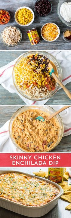 Need an appetizer to feed your game day party crowd? This Skinny Chicken Enchilada Dip from is perfect! It's everything you love about enchilada dip - without any of the guilt, and made easy with Old El Paso™ Enchilada Sauce! So go ahead, stan Skinny Chicken Enchiladas, Chicken Enchilada Dip, Enchilada Sauce, I Love Food, Good Food, Yummy Food, Appetizer Recipes, Appetizers, Food Porn