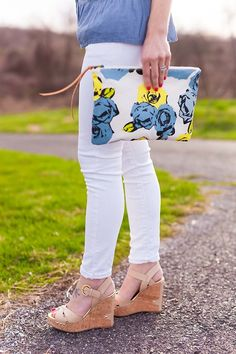 Floral clutch and nude wedges // LipglossandLabels.com