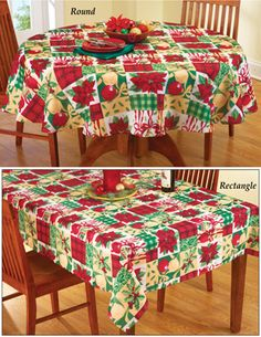 Christmas Poinsettia Plaid Tablecloth