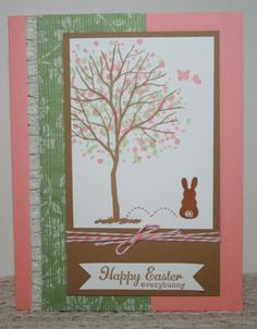 Easter Greeting Cards Completed x4 Lot/Kit ~ Stampin Up Branch Out + Everybunny