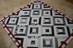 Summer in the Park Quilt Black and white jelly roll quilt with red border. Man Cave Quilts, Summer In The Park, Msqc Tutorials, Missouri Quilt, Black And White Quilts, Jellyroll Quilts, Quilting Designs, Sewing Projects, Kids Rugs