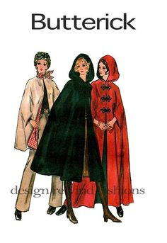 Butterick 5987 LooseFitting Capes Clokes by DesignRewindFashions, $15.00