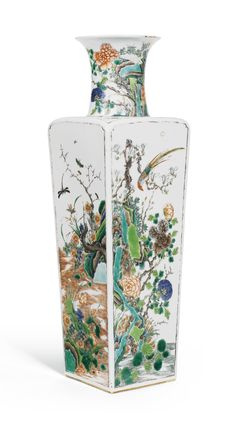 A RARE FAMILLE-VERTE 'BIRD AND FLOWERS' SQUARE VASE, KANGXI MARK AND PERIOD