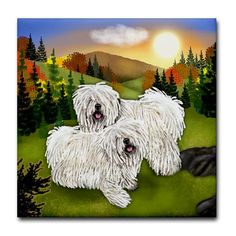 WHITE PULI DOG Fall Art Ceramic Tile Coaster optional frame