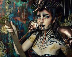 LARP-head dress-horns head dress-Voodoo - headdress with horns - LARP accessory - headpiece - mask magic - larpSchmuck Medusa Headpiece, Headdress, Styrofoam Head, Skull And Bones, Sculpting, Halloween Face Makeup, Braids, Headpieces, Etsy