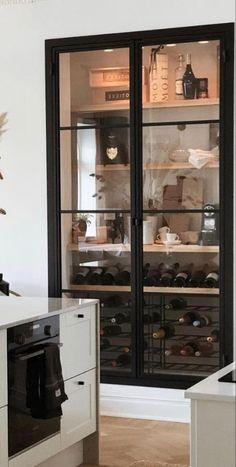 Glass Wine Cellar, Wine Cellar Design, Exposed Brick Fireplaces, Kitchen Wet Bar, Bedroom Built In Wardrobe, Wine Storage Cabinets, Closet Remodel, Interior Design Kitchen, Decoration