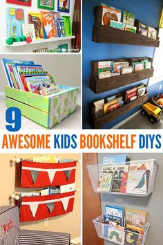 9 Awesome DIY Kids Bookshelves Great for playrooms and bedrooms.