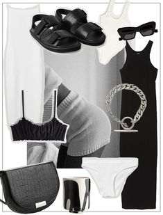 THE EDIT: Black & White Summer — VIENNA WEDEKIND List Style, My Style, Balenciaga Bracelet, Cool Outfits, Casual Outfits, Ribbed Knit Dress, Soft Bra, Vienna, Capsule Wardrobe