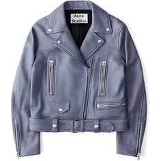 Acne Studios Mock Leather Moto Jacket (6,185 SAR) ❤ liked on Polyvore featuring outerwear, jackets, coats & jackets, blue, moto jacket, real leather jackets, leather jackets, biker jackets and genuine leather biker jacket