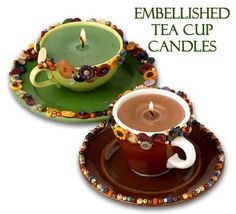 Embellished Tea Cup Candles #ButtonCrafts, #CandleMakingCrafts #CandleMaking http://www.ilovetocraft.com/candlemaking/embellished-tea-cup-candles.shtml