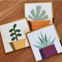 Image of Succulent Trio Quilt Block Patterns - x Paper Pieced Quilt Patterns, Modern Quilt Patterns, Quilt Patterns Free, Pattern Blocks, Modern Quilting, Triangle Quilt Pattern, Quilt Square Patterns, Modern Quilt Blocks, Triangle Quilts
