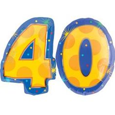 40 Number Balloons - Helium Filled