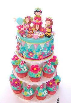 Tea party garden cake and cupcakes