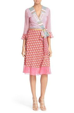 DIANE VON FURSTENBERG 'Nieves' Floral Print Silk Wrap Dress. #dianevonfurstenberg #cloth #