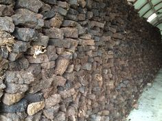 Peats stacked in storage, natural alternative island fuel