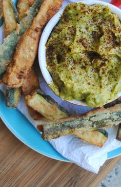 Zucchini fries with tequila spiked avocado dip