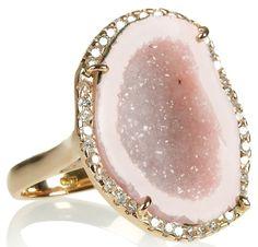 Pink Quartz and Diamond rimmed ring. Soooooo pretty.