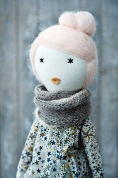 Doll Rag doll soft doll handmade liberty one by lespetitesmainsS  so elegant!