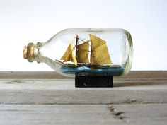 Vintage ship in a bottle by DouglasVintage on Etsy, $26.00