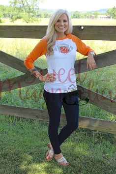 Monogrammed Football Raglan Tee by SweetMagnoliasTN on Etsy
