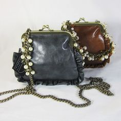 Elegant small faux leather with ruffled trim and closure clasp shoulder/ cross body dressy bag. Long chain holder with crystals and faux pearls. Design by Liz Soto. Perfect for your Dressy Date or as a gift. #handbags, #purses,  #accessories, #fashion, #elegant, #women, #beautiful, #designer