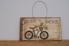 Distressed Wood Sign Hand Painted Bike Art Wood by Ramshackles