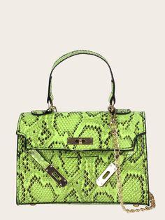 4498d6c560 Snakeskin PU Neon Lime Satchel Bag. Satchel Purse ...