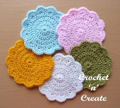 Crochet this circular coaster using basic crochet stitches. Make more than one and impress your friends with your craftsmanship, when they see them . Crochet Coaster Pattern, Crochet Patterns, Crochet Ideas, Knitting Patterns, Basic Crochet Stitches, Crochet Basics, Crochet Dishcloths, Crochet Doilies, Crochet Gratis