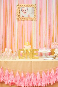 Pink and Gold Princess Birthday Party - gorgeous dessert table!
