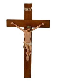 altezza Cristo cm. 25 in resina croce di legno cm. 50x28 dipinto con colori acrilici  http://www.ovunqueproteggimi.com/collezione-statue/ges%C3%B9/cristo-in-croce/