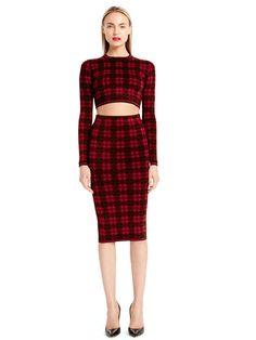 Torn by Ronny Kobo London Plaid crop top and matching skirt