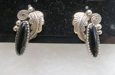Navajo Silver Sterling Leaf Swirl and Oval Onyx Earrings signed RB - Richard Begay by Framarines on Etsy