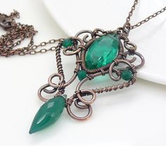 Copper necklace - Emerald green necklace, Dark green onyx gothic necklace, Copper wire wrapped jewelry, Handmade emerald green jewelry