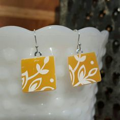 Butterfly Gold Pyrex Jewelry Earrings in Sterling Silver, Square shaped     https://www.etsy.com/listing/264988979/butterfly-gold-1-pyrex-jewelry-earrings