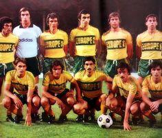 F.C. NANTES 1977-78.  Debout : Bargas, Bertrand-Demanes, Osman, Bossis, Rio, Van Straelen. Accroupis : Pécout, Michel, Baronchelli, Rampillon, Amisse.
