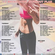 12 weeks home workout plan. Who's in???