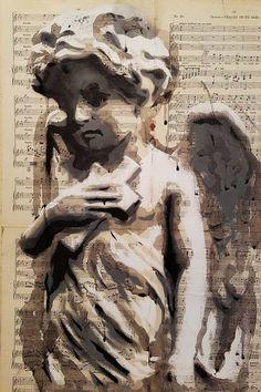 "Saatchi Art Artist Jean-Henri Jonquiere; Drawing, ""Mixed Media Angel Boy"" #art #art #painting #artwork #acrylic #urbanart #streetart #graffiti #canvas #artprint #printable #artforsale #acrylicprint #canvasprint #angel #religion #christian #portrait"