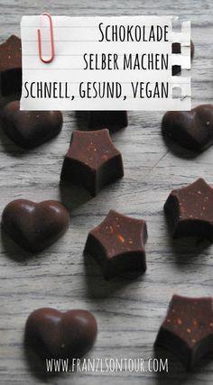 Schokolade selber machen - schnell, gesund, vegan... Dieses und viele andere schnelle Rezepte findest du am Blog!