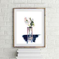 Flower art print, watercolor painting of flower in a glass, watercolor print, floral painting, wall art, single flower by CanotStopPrints on Etsy