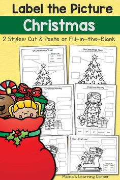 Christmas Label the Picture Christmas Worksheets, Christmas Activities For Kids, Preschool Christmas, Free Christmas Printables, Preschool Activities, Christmas Writing, Christmas Books, Christmas Themes, Christmas Fun