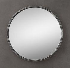 """Quiet room? 36"""" diam.; 40 lbs. 48"""" diam.; 66 lbs. Antiqued Riveted Mirrors Round"""