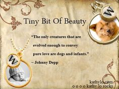 """""""The only creatures that are evolved enough to convey pure love are dogs and infants.""""-Johnny Deep"""