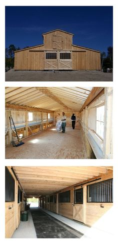 Discover the benefits of a Monitor Modular Horse Barn, featuring windows for natural light and ventilation as well as an upper level for expanded storage. Dream Stables, Dream Barn, Equestrian Stables, Horse Barn Designs, Horse Barn Plans, Goat Barn, Horse Stalls, Horse Farms, The Ranch