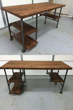 """Reclaimed Wood Desk Table - Rustic Solid Oak W / 28 """"Black Iron Pipe Legs.Reclaimed Wood Desk Table - Rustic legs made of solid oak with 28 black tubular iron legs. Diy Wood Desk, Wood Office Desk, Reclaimed Wood Desk, Wood Computer Desk, Rustic Desk, Wood Table, Pipe Table, Rustic Shelves, Table Desk"""