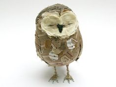 owl made of fabric scraps. http://www.momtastic.com/shopping/reviews/167251-scraps-turned-into-sensational-sculpture